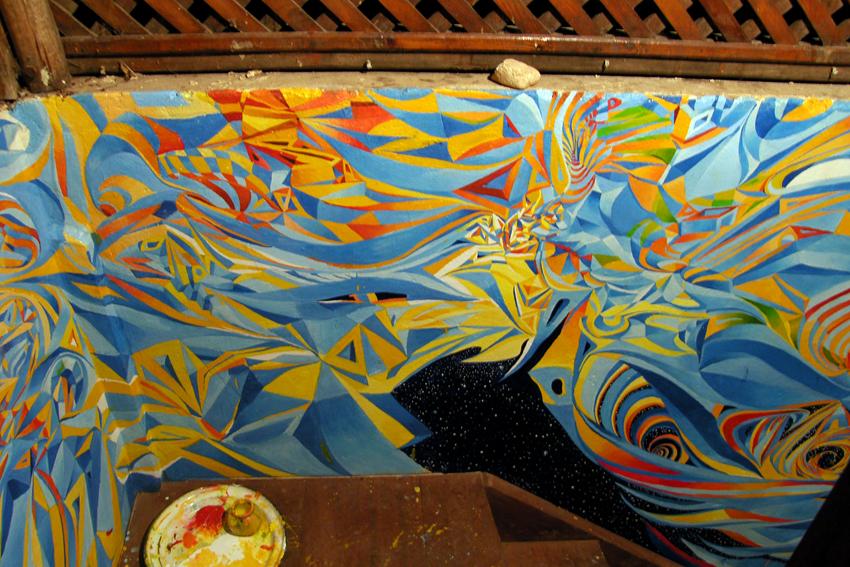 Sonnendeck Detail Acryl, Öl auf Wandfläche