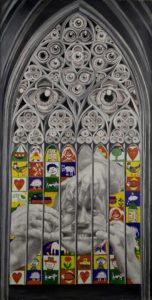 Öl, Acryl, Graphit, Tusche auf Leinwand 210 cm x 105 cm